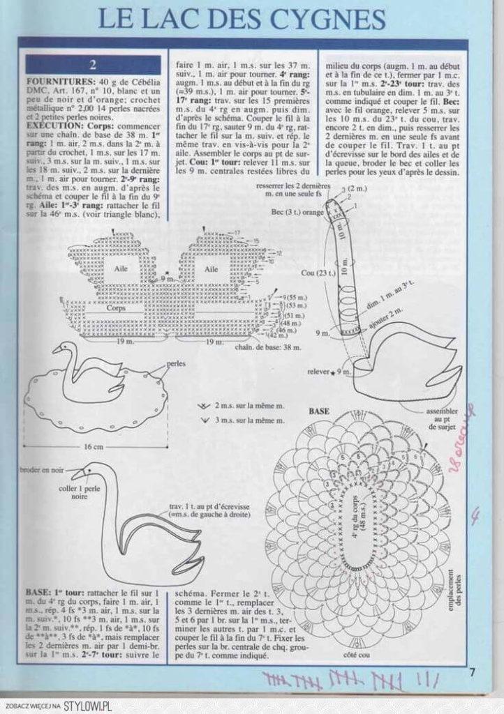 Лебеди вязанные крючком