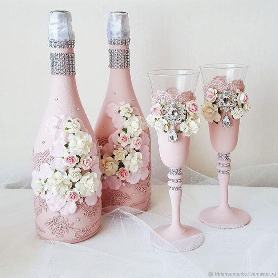 Декорирование свадебных бутылок и бокалов