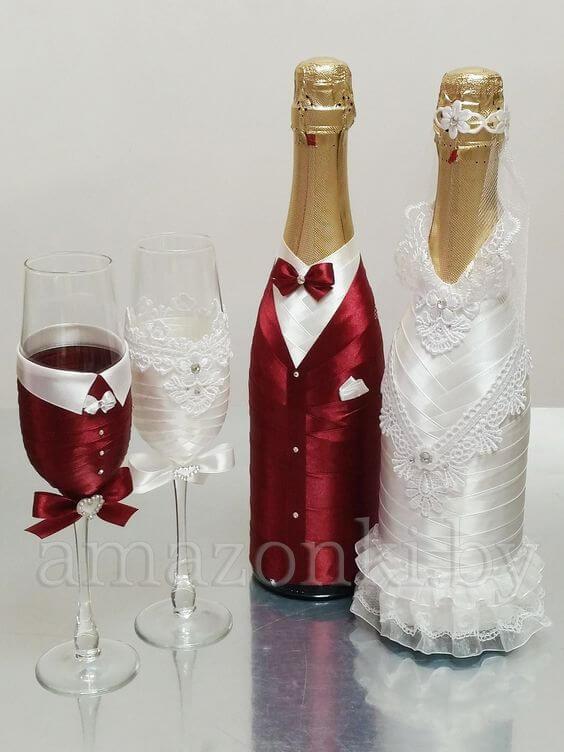 Декор свадебных бокалов и бутылок