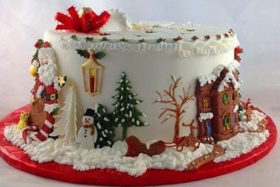 Декорирование новогоднего торта