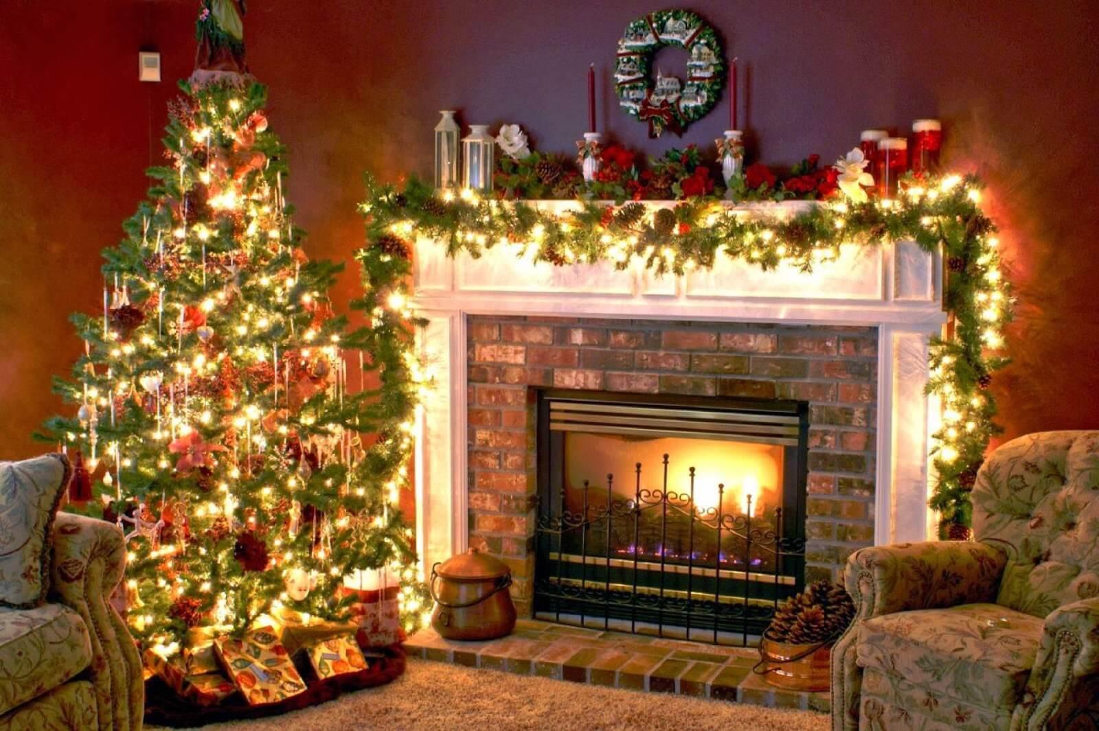 Картинки новый год камин елка