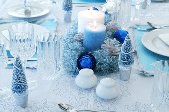 Новогодний стол - декор в синем цвете
