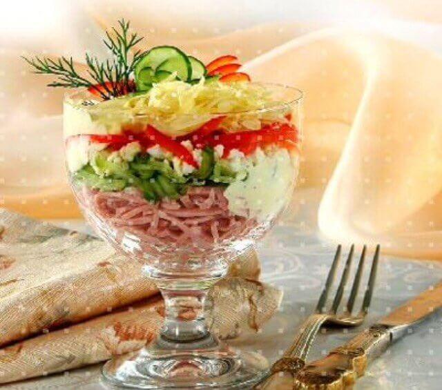 Салат-коктейль порционный с ветчиной