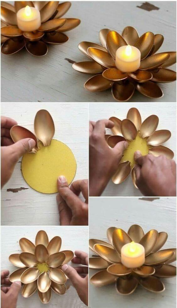 Декор из пластиковых ложек