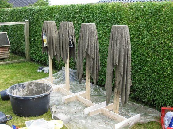Кашпо из полотенца и цемента
