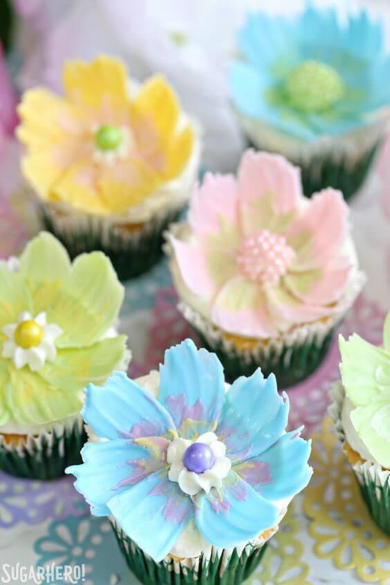 Украшение капкейков: фото идеи цветочных капкейков