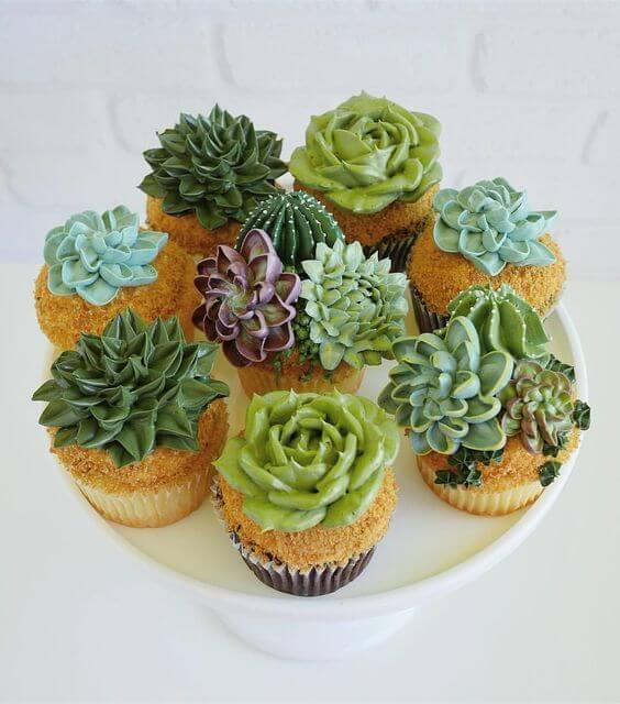 Идеи цветочных капкейков - кактусы