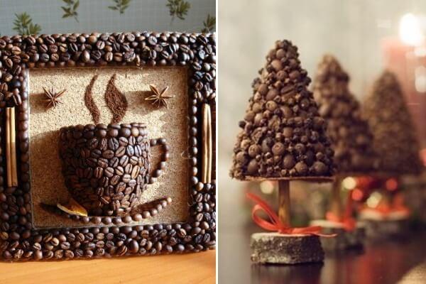 Декор и поделки из кофейных зерен