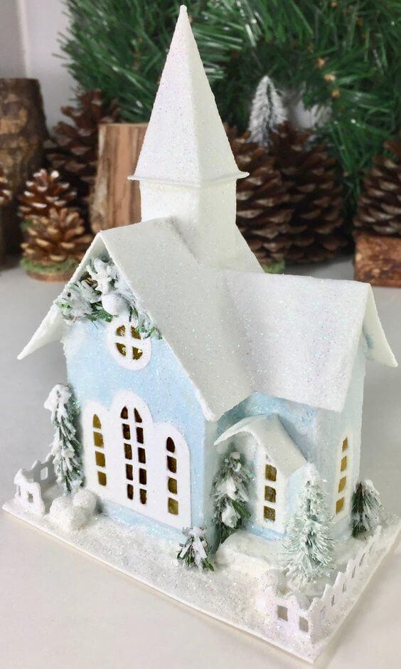 Рождественский домик из картона