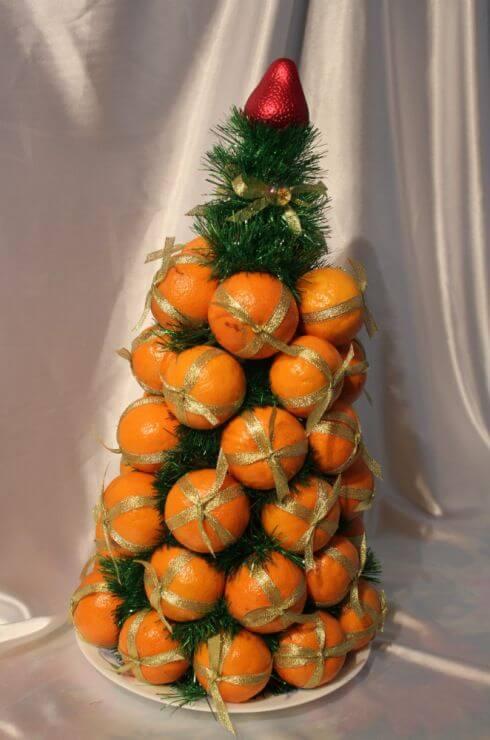 Съедобная елка из мандаринов