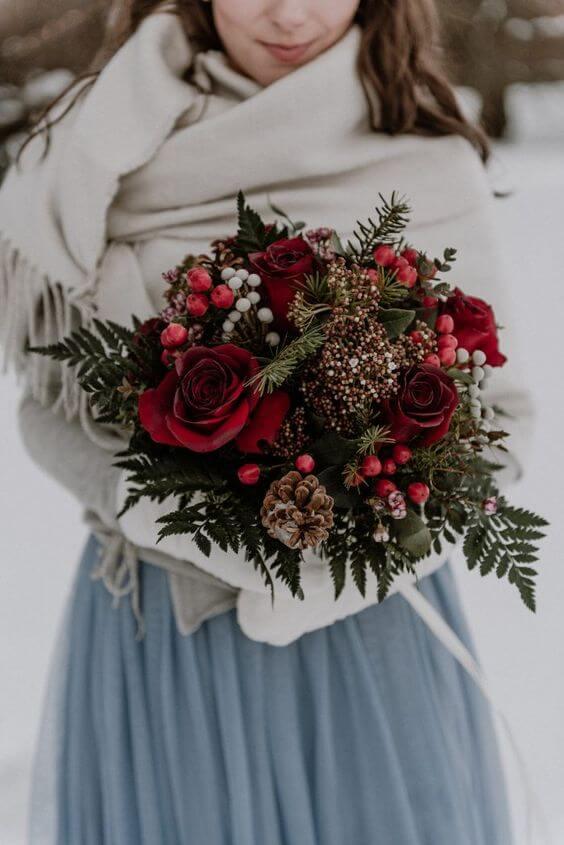 Зимний свадебный букет