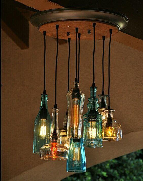 Светильники из банок и бутылок