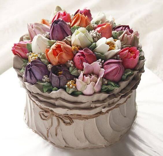 Торт цветочный горшок